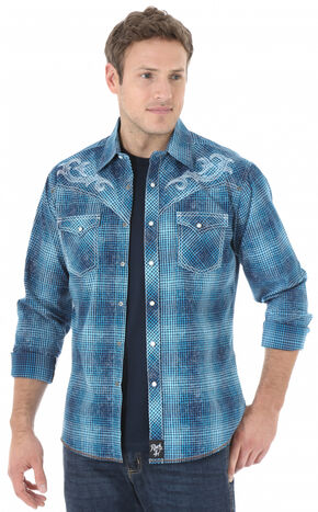 Wrangler Rock 47 Men's Blue Plaid Embroidered Western Shirt , Blue, hi-res