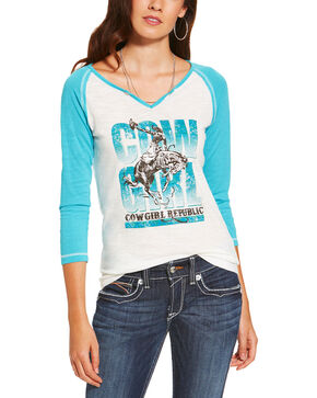 Ariat Women's Nova Graphic Baseball Tee , White, hi-res