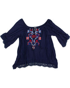 Eyeshadow Women's Floral Embroidered Long Sleeve Blouse - Plus, Navy, hi-res