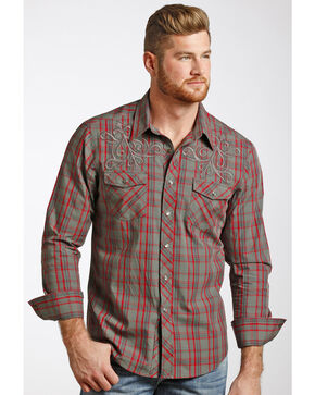 Rock & Roll Cowboy Men's Heavy Stitched Plaid Shirt , Red, hi-res