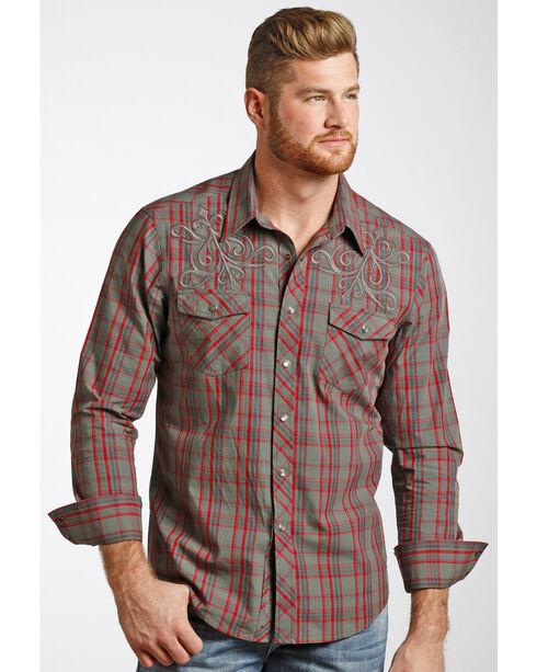 Rock & Roll Cowboy Men's Heavy Stitched Plaid Shirt , Red, hi-res