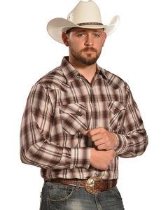 Ely Men's Tan and Brown Plaid Western Shirt , Brown, hi-res
