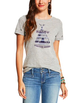 Ariat Women's Heather Grey Camp Fire Tee , Hthr Grey, hi-res