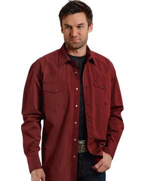 Roper Men's Amarillo Collection Maroon Snap Long Sleeve Shirt, Red, hi-res
