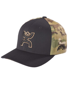 HOOey Men's Black Chris Kyle FlexFit Baseball Cap , Black, hi-res