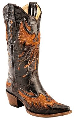 Corral Distressed Eagle Inlay Orange Rhinestone Cowgirl Boots - Snip Toe, , hi-res