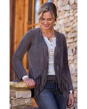 Ryan Michael Women's Grey Fringe Sleeve Suede Jacket , Grey, hi-res