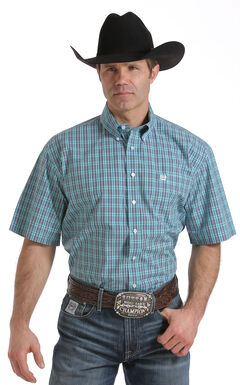 Cinch Men's Light Blue One Pocket Plaid Shirt, Light Blue, hi-res