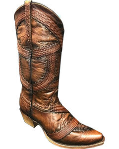 Corral Women's Brown Braided and Studded Cowgirl Boot - Snip Toe, Brown, hi-res