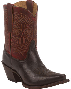 Tony Lama Women's Chocolate Baja 100% Vaquero Western Booties - Snip Toe, Chocolate, hi-res