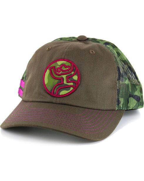 HOOey Women's Camo Bullseye Snapback Trucker Hat, Camouflage, hi-res