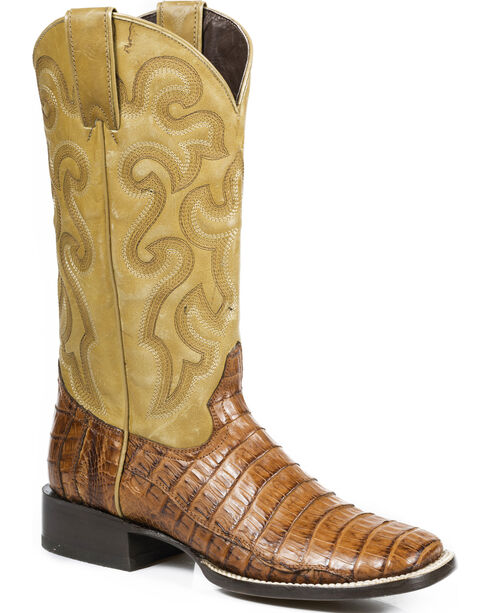 Stetson Women's Brandy Mad Dog Caiman Western Boots - Square Toe, Brown, hi-res