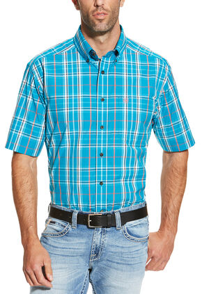 Ariat Men's Turquoise Ethan Short Sleeve Shirt, Turquoise, hi-res