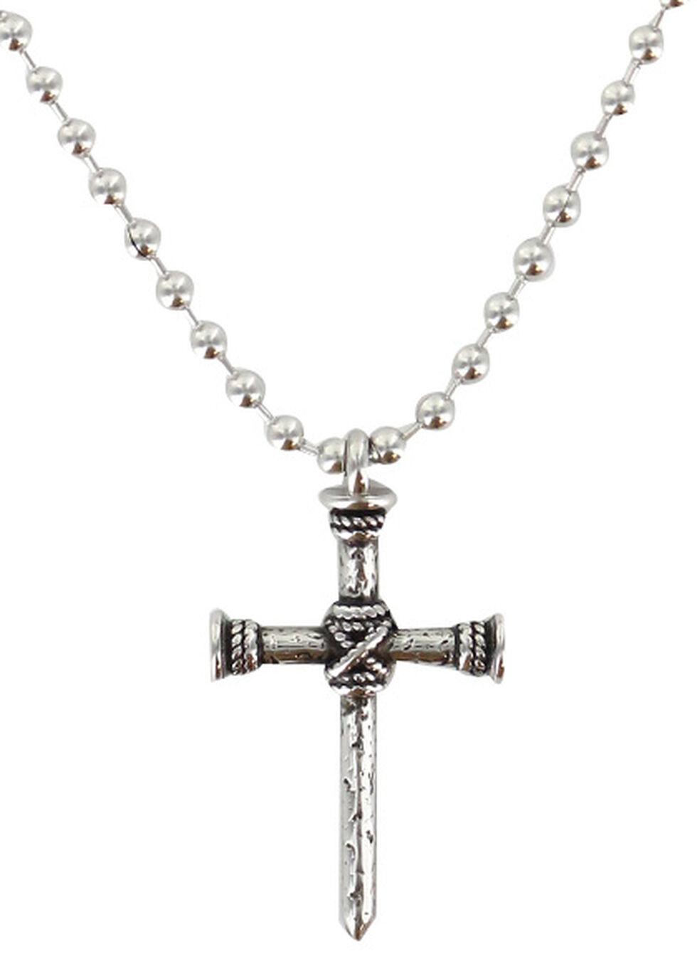 Moonshine Spirit Men's Nail Cross Necklace, Silver, hi-res