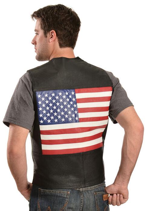 Vintage Leather Men's American Flag Leather Vest, Black, hi-res