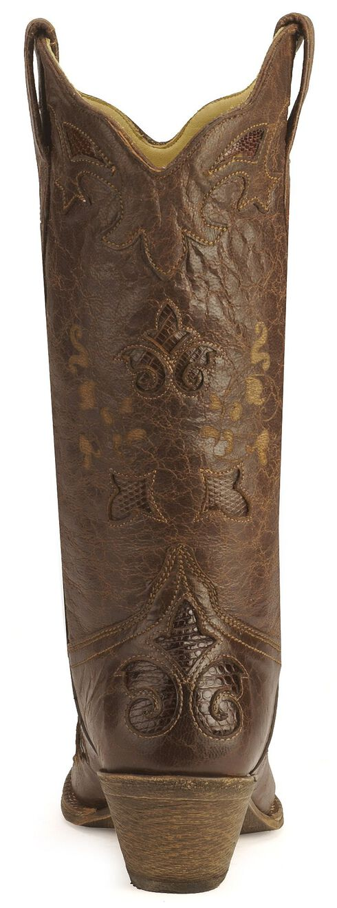 Corral Chocolate Lizard Inlay Western Cowgirl Boots - Pointed Toe, Chocolate, hi-res