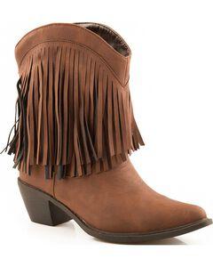 Roper Short Fringe Cowgirl Boots - Snip Toe, , hi-res