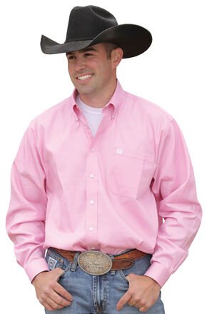 Cinch Long Sleeve Button-Down Solid Pink Shirt - Big & Tall, Pink, hi-res
