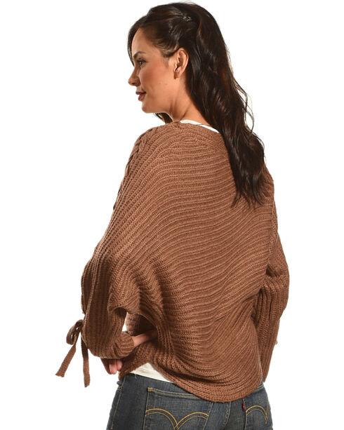 HYFVE Women's Braided Sleeves Sweater, Burgundy, hi-res