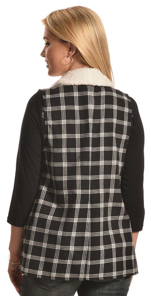 Derek Heart Women's Black Plaid Sherpa Lined Waterfall Vest, Black, hi-res