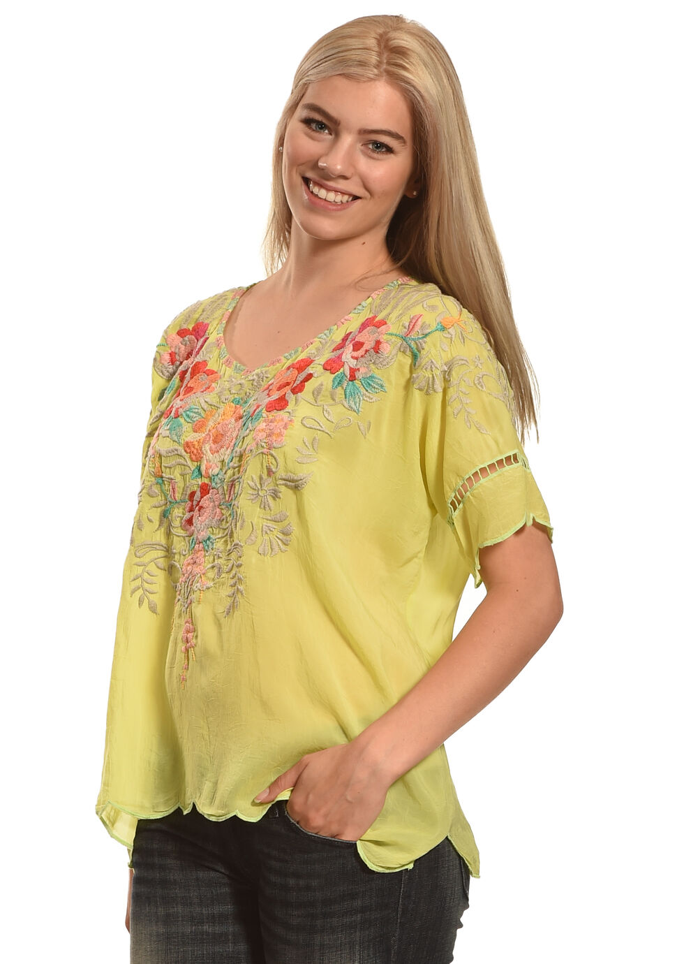 Johnny Was Women's Jenn Blouse , Green, hi-res
