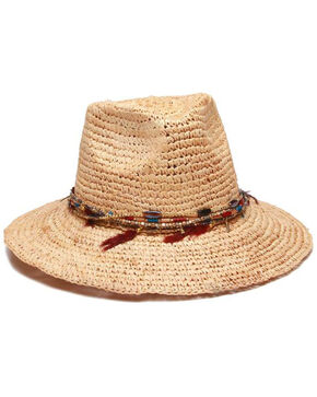 ále by Alessandra Women's Jurere Raffia Beaded Feather Band Hat, Natural, hi-res