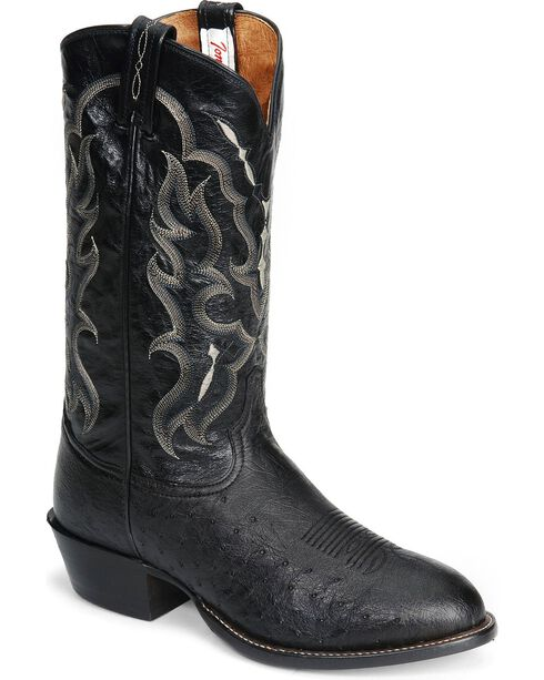Tony Lama Smooth Ostrich Western Boots - Round Toe, Black, hi-res
