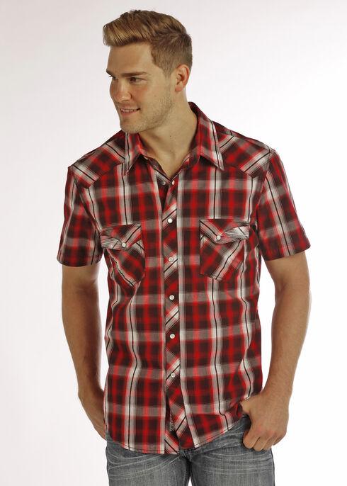 Rock & Roll Cowboy Men's Red Short Sleeve Plaid Shirt , Red, hi-res