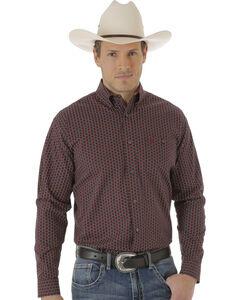 Wrangler Men's Red and Black Foulard Print 20X Western Shirt , Red, hi-res