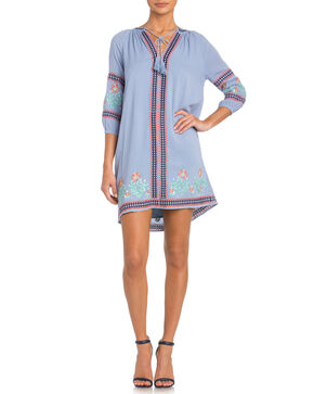 Miss Me 3/4 Sleeve Embroidered Dress, Blue, hi-res