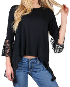 Shyanne Women's Black V Slit Lace 3/4 Sleeve Shirt, Black, hi-res