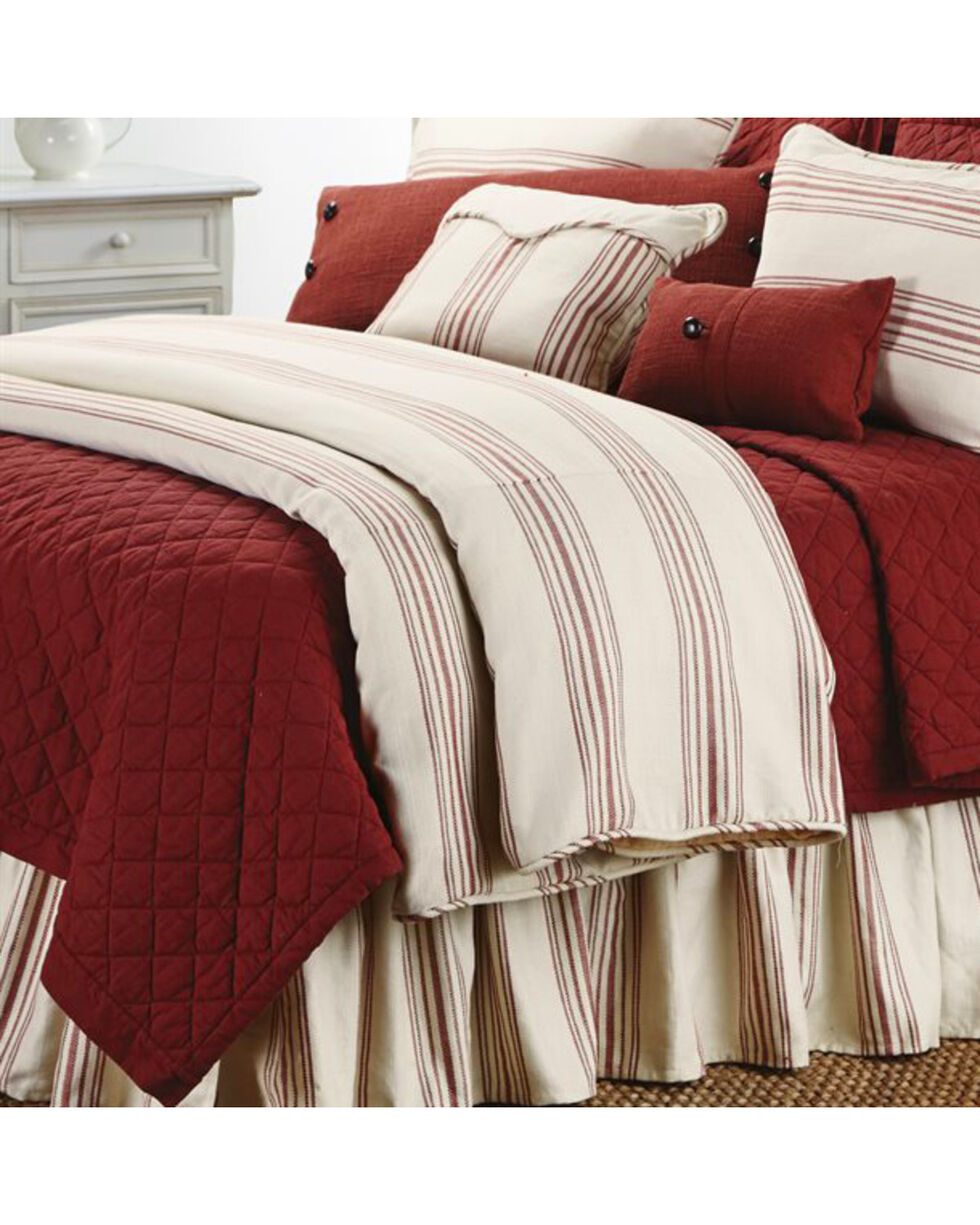 HiEnd Accents Prescott Striped Super Queen Size Duvet, Red, hi-res