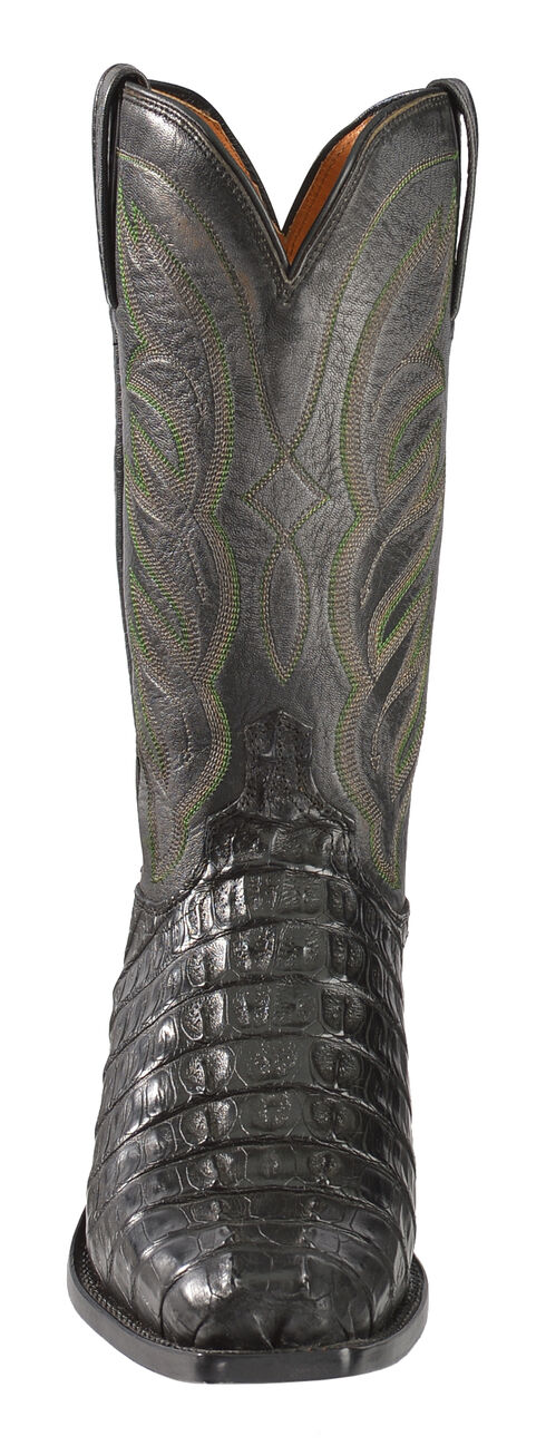 Lucchese Men's Handmade Landon Caiman Tail Cowboy Boots - Narrow Square Toe, Black, hi-res