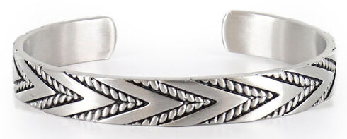 Cody James Men's Silver Twisted Rope and Chevron Cuff Bracelet, Silver, hi-res