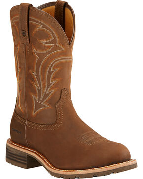 Ariat Hybrid Rancher H2O Cowboy Boots - Round Toe , Brown, hi-res