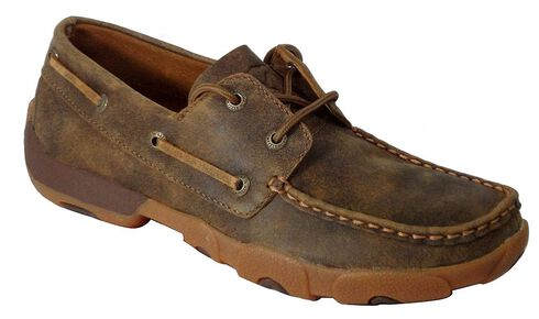 Twisted X Women's Driving Lace-Up Moccasin Shoes - Round Toe, Tan, hi-res