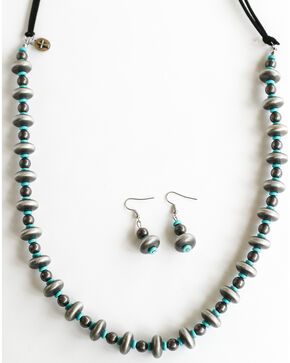 West & Co. Women's Burnished Silver Turquoise Bead Leather Necklace Set, Silver, hi-res