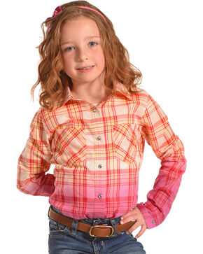 Shyanne Girls' Ombre Plaid Long Sleeve Shirt, Pink, hi-res