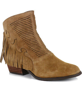 Shyanne Women's Letty Fringe Booties - Round Toe, Chestnut, hi-res