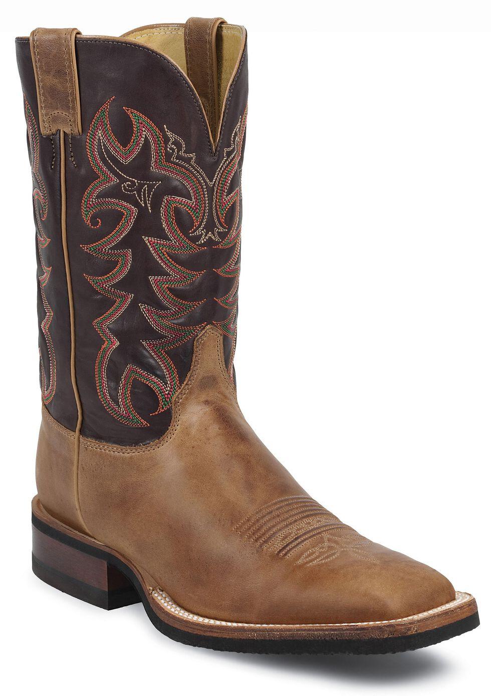 Justin Q-Crepe Cowboy Boots - Wide Square Toe, Tan, hi-res