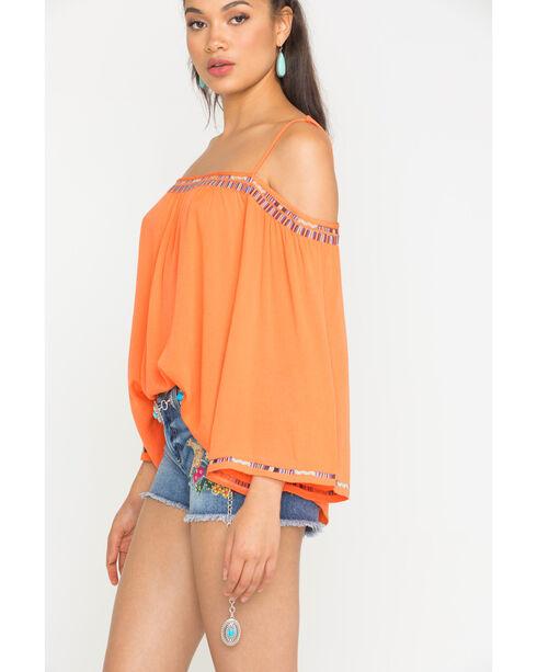 Miss Me Women's Orange Off Shoulder Embroidered Top , Orange, hi-res