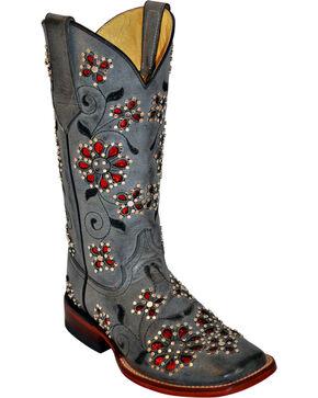 Ferrini Winter Blossom Cowgirl Boots - Square Toe, Grey, hi-res