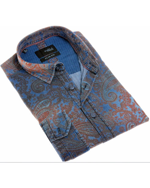 Eight X Men's Navy Paisley Print Denim Shirt , Navy, hi-res