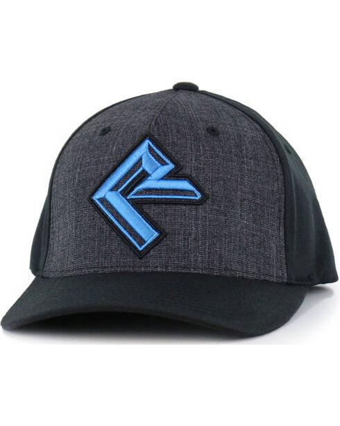 Rock & Roll Cowboy Men's Charcoal and Turquoise Logo Cap, Charcoal, hi-res