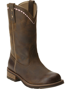 Ariat Unbridled Roper Boots - Round Toe, Dark Brown, hi-res