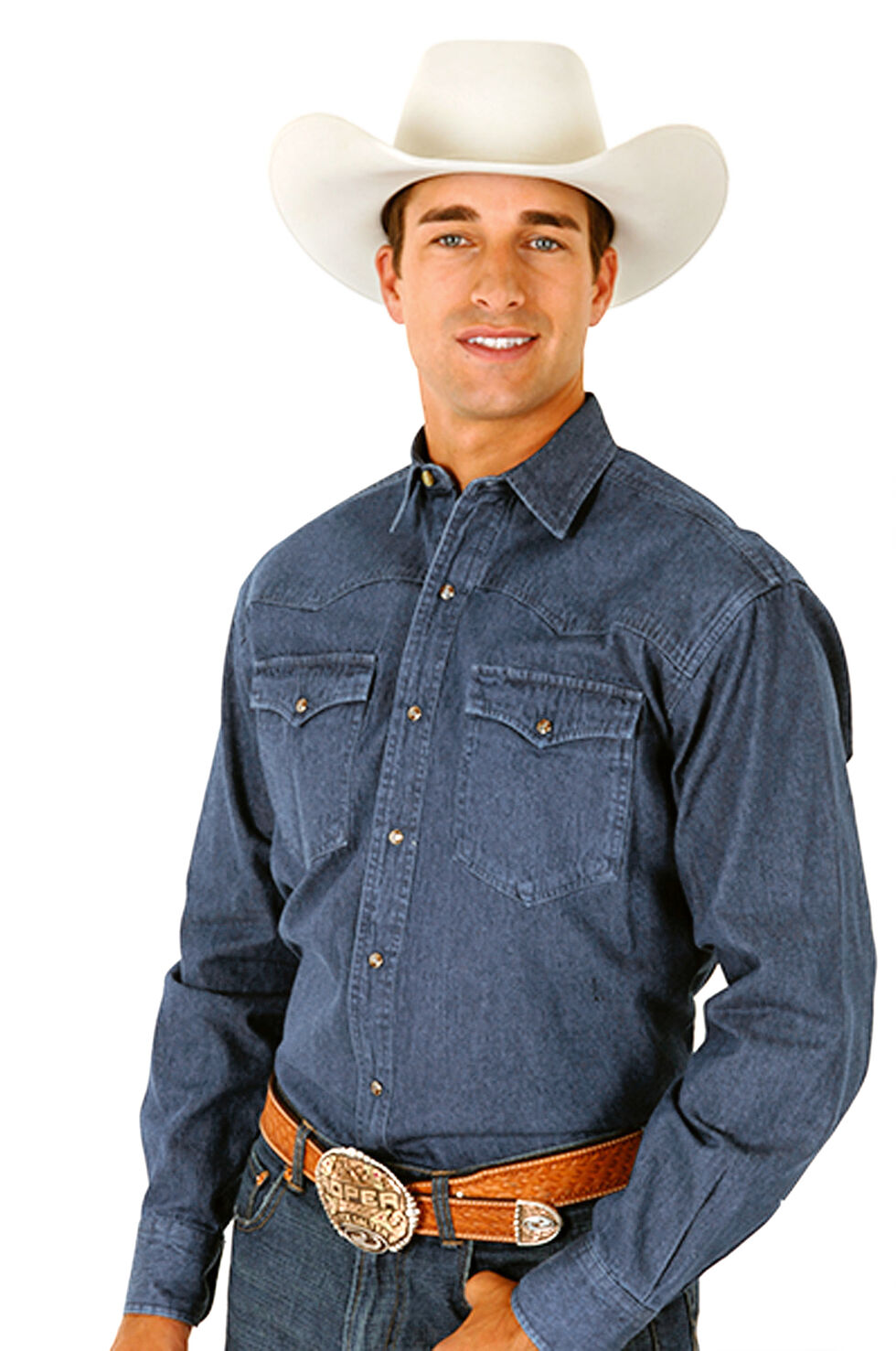 Roper Denim Blue Twill Western Shirt - Big and Tall, Blue, hi-res