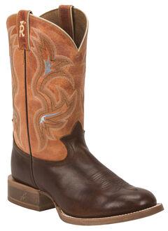 Tony Lama Men's Cognac Crockett 3R Stockman Cowboy Boots - Round Toe , Cognac, hi-res