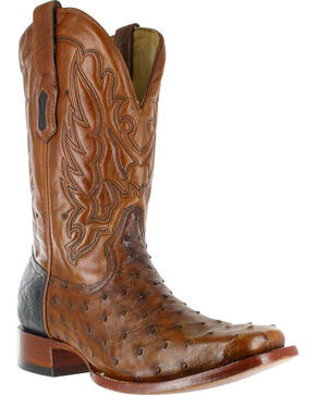 Corral Men's Full Quill Ostrich Western Boots - Square Toe , Cognac, hi-res
