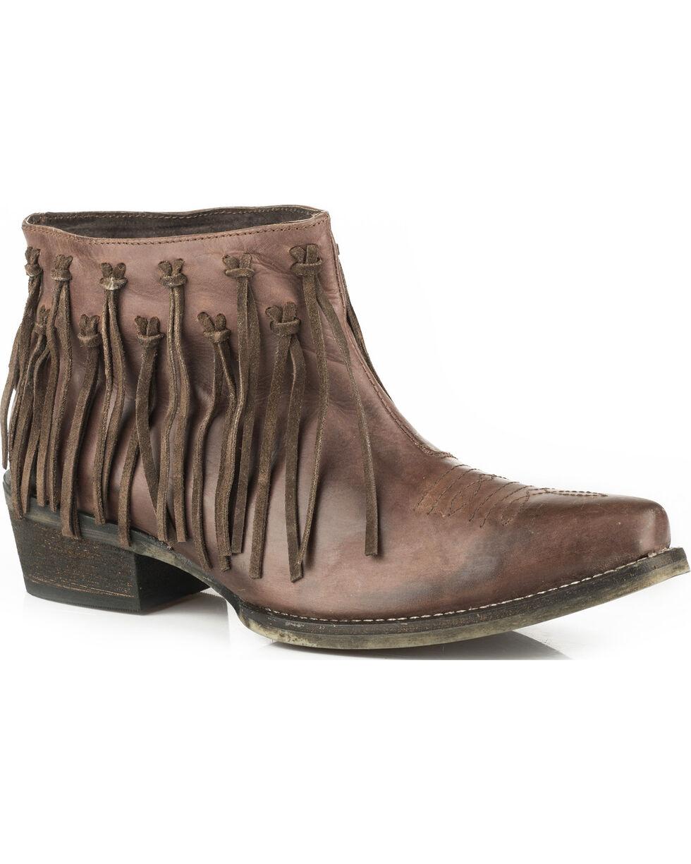 Roper Women's Brown Burnished Leather Fringe Western Boots - Snip Toe, Brown, hi-res
