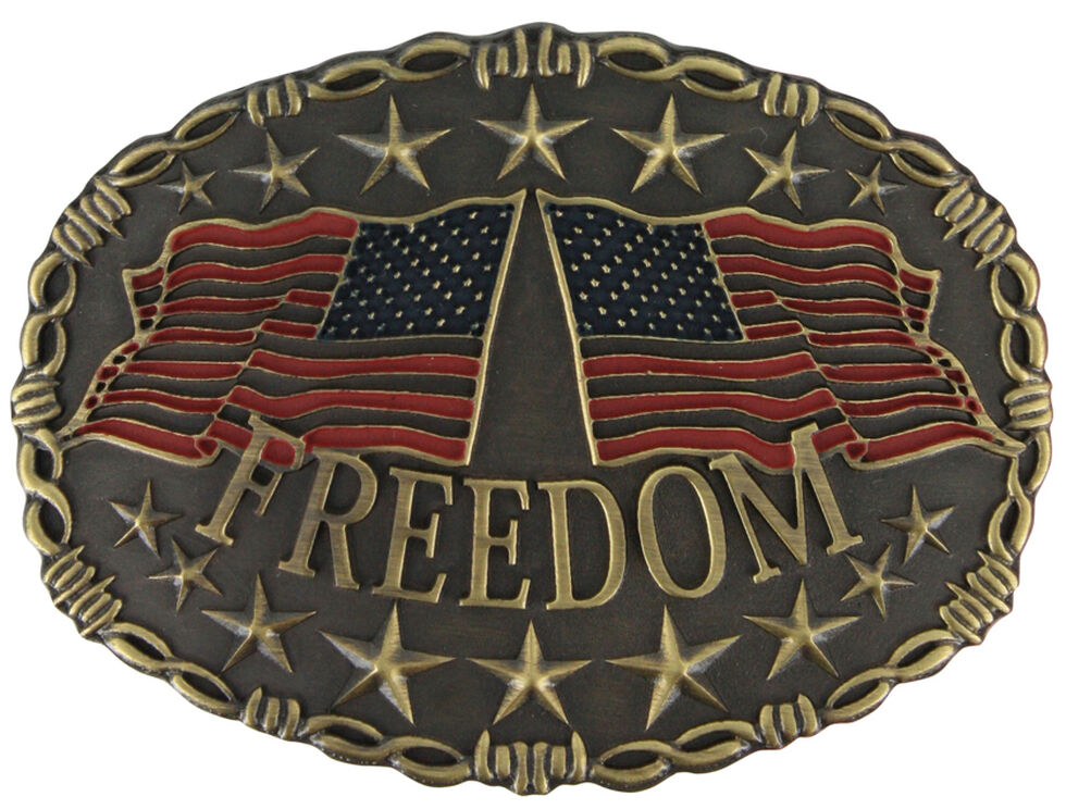 Cody James Men's Freedom Belt Buckle, Silver, hi-res